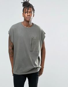 Image 1 of ASOS Super Oversized T-Shirt With Woven Pocket And Wash