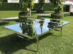 Cool Idea: Mirrored Ping-Pong Table - Why not bring a little HR outside?