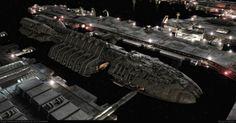 Battlestar Berzerk in the shipyard Kampfstern Galactica, Battlestar Galactica 1978, Sci Fi Anime, Starship Concept, Sci Fi Spaceships, Space Battles, Spaceship Design, Star Trek Ships, Star Trek Enterprise