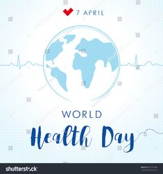 World Health Day cardiogram globe card. Globe and normal puls trace as a concept for 7 April, World Health Day , World Health Day, Infographic Templates, Card Stock, Globe, Royalty Free Stock Photos, Concept, Graphics, Ads, Corona