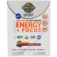 Garden of Life, Sport, Organic Plant-Based Energy + Focus, Pre-Workout, Blackberry Cherry, 12 Packets, 0.2 oz (6 g) Each