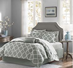 California King Comforter Sets Gray Reversible 9 Piece Sheets Bedding Pillow #MadisonPark #Contemporary