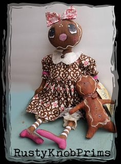 """Primitive Country Vintage  16/"""" Fabric /"""" MOLLY/"""" Rag Doll By Honey /& Me NEW!!"""