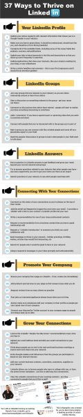 37 Ways to Thrive on LinkedIn [Infographic] LinkedIn Marketing, LinkedIn Tips Marketing Digital, Marketing Mail, Marketing Online, Business Marketing, Business Tips, Internet Marketing, Content Marketing, Social Media Marketing, Mobile Marketing