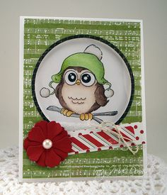 Art Impressions Rubber Stamps: Ai Whoots Beanie Whoot Set (Sku#4127) ... handmade congratulations card.