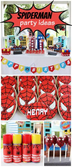 How cool is this modern Spiderman birthday party?! See more party ideas at CatchMyParty.com!