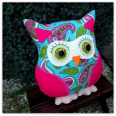 Paisley.  A 36cm 14.4 inches tall owl pillow.  by TheSherbetPatch, £25.00