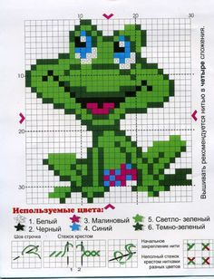 grenouille - frog - point de croix - cross stitch - Blog : http://broderiemimie44.canalblog.com/
