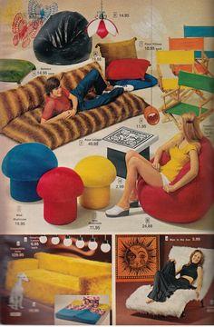 vintage interior design posts - The Groovy Archives 1970s Decor, 70s Home Decor, Vintage Home Decor, 1970s Furniture, Bedroom Furniture, Furniture Design, 70s Bedroom, Hippy Bedroom, Bedroom Sets