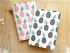Pink Mini Notebook Fruit Print Notebook, Stitched Jotter Spring Pastel Pink Pineapple. €7.50, via Etsy.
