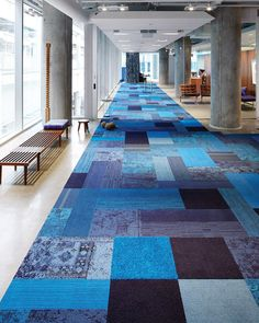 An evolution of traditional square carpet tiles, our 25 x 100 cm Skinny Planks offer a new world of interior design possibilities, with greater flexibility, minimal waste and more creative freedom World Of Interiors, Office Interiors, Carpet Tiles, Carpet Design, Corporate Design, School Design, Tile Floor, Minimalism, Flooring