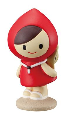 cute standing Little Red Riding Hood with hat around her neck figurine Japan 1