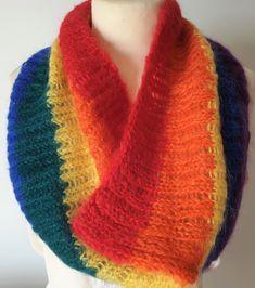 Handknitted Pride rainbow scarf in luxury yarn and gorgeous colors by Ebooksandhandmade on Etsy Crochet Woman, Hand Crochet, Hand Knitting, Plaid Infinity Scarf, Ruffle Scarf, Black Chevron, Rainbow Pride, Wool Scarf, Keep Warm