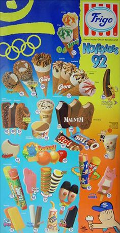 """ Frigo display, Cobi, mascot of the Olympic Games in Barcelona, also an ice cream. Ice Cream Font, Ice Cream Poster, Ice Cream Prices, Twister, Vintage Ice Cream, Magnum, Minnie, Shop Signs, I Party"