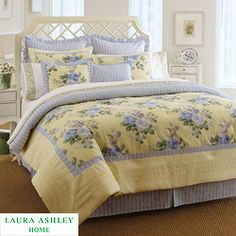 @Overstock - This Caroline comforter set from Laura Ashley showcases a yellow floral design with a striped reverse.  This bedding ensemble is designed to brighten up any bedroom.  http://www.overstock.com/Bedding-Bath/Laura-Ashley-Caroline-Twin-size-Comforter-Set/5583709/product.html?CID=214117 Add to cart to see special price