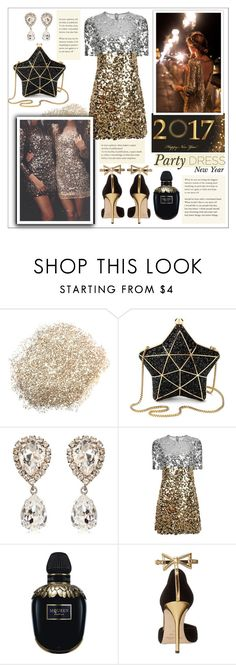 """""""Party dress/ New Year special"""" by smallbeautymonsters ❤ liked on Polyvore featuring Aspinal of London, Dolce&Gabbana, Alexander McQueen, Oscar de la Renta, gold, party and newyear"""