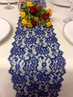 5ft10ft NAVY BLUE Lace/Table Runner/Weddings/ by LovelyLaceDesigns