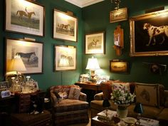 Apartment :Horse Dog Framed Prints Wall Gallery Green Painted Walls Decor Plaid Chair Decorating Traditional Home Room Ideas - HeimDecor