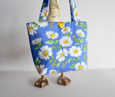 girls bag daisy tote blue flower bag girls by RobynFayeDesigns