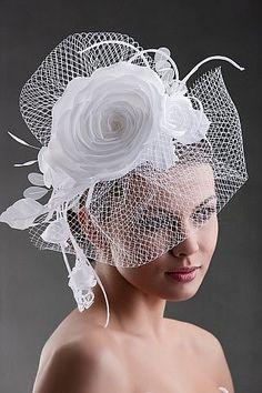 More Bridal Hat Headpieces White Fascinator Flower