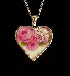 Broken china jewelry heart pendant necklace antique porcelain pink mauve roses