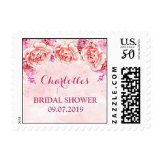 Pink Watercolor Flowers Bridal Shower Stamps Customize these #postagestamps to match your #weddinginvitation sets Make your day special with these custom #stamp #cards and #stationary sets