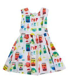 Look what I found on #zulily! White & Green Sleeveless Dress - Infant, Toddler & Girls #zulilyfinds
