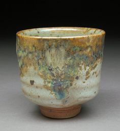 3 Golden Curtains Shino glazed Yunomi Tea Cup with Wood Ash and Rutile with extraordinary effects