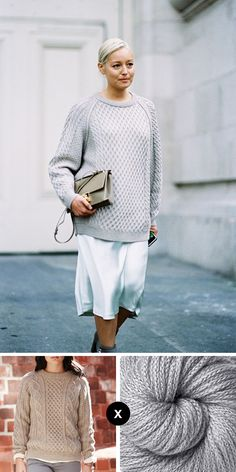 You know my current obsession is slouchy dress-down sweaters over simple dresses, and I like 'em cropped, but I'm loving this long, all-platinum version photographed on Rachael Wang. To approximate...