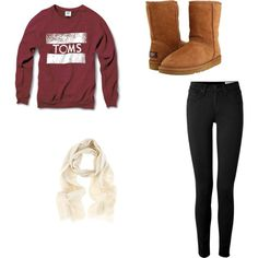 Comfy Outfit // Perfect Fitted Sweater , Skinny Black Jeans , Scarf , Uggs <3