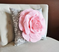 Damask Pillow-Light Pink Rose on Gray and White Damask Pillow -Ozborne Pillow- via Etsy Light Pink Rose, Pink Rose Flower, Pink Roses, Green Throw Pillows, Grey Pillows, Wall Hanging Lights, White Damask, Baby Wall Art, Nursery Wall Decor