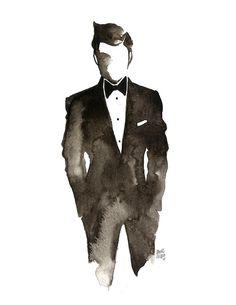 danvelasco21: Tux Watercolor on paper - Stylish guy