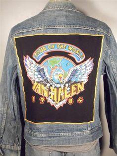 BAREFOOT VINTAGE ORIGINAL  VAN HALEN TOUR OF THE WORLD 1984 JACKET L #449 $175.00 SOLD