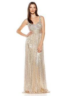 Light Gold V-Neck Embellished Bodice Gown