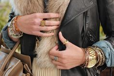 leather, fur & layered jewelry