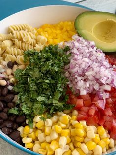 Cowboy Caviar Pasta Salad | Pasta Salad Recipe | Cowboy Caviar | Everyone's favorite Cowboy Caviar dip made into an easy Pasta Salad. Tender spiral pasta noodles, corn, sweet bell peppers, diced tomatoes, red onion, cilantro, avocado covered in Italian dressing and seasonings. #pastasalads #sidedishrecipe #cowboycaviar #summerrecipes #recipeoftheday #pastasaladrecipe Greek Pasta, Pasta Salad Italian, Veggie Recipes, Healthy Recipes, Shrimp Recipes, Free Recipes, Vegetarian Recipes, Dinner Recipes, Cowboy Caviar Dip