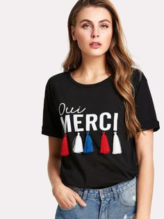Shop Letter Print Tassel Embellished T-shirt online. SheIn offers Letter Print Tassel Embellished T-shirt & more to fit your fashionable needs. Shirt Refashion, T Shirt Diy, Shirts For Teens, T Shirts For Women, Girls Clothes Sale, Casual T Shirts, Casual Outfits, Winter T Shirts, T Shorts