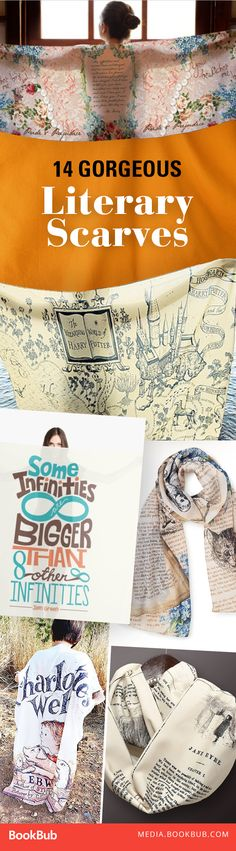 Beautiful book scarves that would make great gifts for friends who love to read (or for yourself).