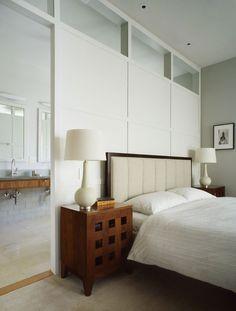 contemporary bedroom divider wall to ensuite opens up the space Bedroom Divider, Bedroom Wall, Room Dividers, Bedroom Ideas, Headboard Ideas, Bedroom Photos, Modern Bedroom Design, Contemporary Bedroom, Bedroom Designs