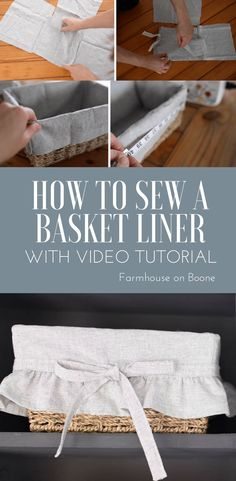 How to sew a basket liner. Make a basket liner with this sewing tutorial. Video instructions included. #sewingtutorial #sewingprojects #videotutorial