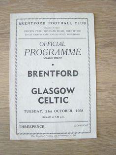 1958 BRENTFORD V GLASGOW CELTIC | eBay
