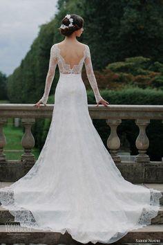 sareh nouri bridal fall 2016 long sleeves sweetheart illusion jewel neck lace wedding dress / http://www.himisspuff.com/long-sleeve-wedding-dresses/6/