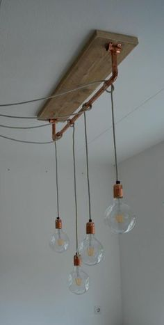 Make light bulb as a lamp yourself - the trendy lamp as .- Glühbirne als Lampe selber machen – Die trendige Leuchte als Deko With light bulbs on the cable you can install lamps staggered - Living Room Lighting, Kitchen Lighting, Bathroom Lighting, Retro Home Decor, Diy Home Decor, Decor Crafts, Deco Luminaire, Wood Chandelier, Home Decor Ideas