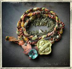 Wrap bracelet, mixed media, ~Spring in Bloom~, bee bracelet, flower, green, brass rabbit studio--LEATHER BRAIDED WITH SILK RIBBON