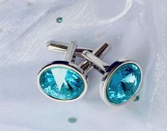 Blue Zircon - December Birthstone colour - Cufflinks Handmade with Swarovski Crystals and 925 sterling silver - Perfect for wedding accessories, anniversary, birthday and fathers day. Crystal is gift recommended for Wedding Anniversary 15 Year Wedding Anniversary, Anniversary Gifts, Blue Zircon, Handmade Wedding, Wedding Accessories, Birthstones, Fathers, Swarovski Crystals, Cufflinks