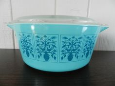Vintage Pyrex Casserole with Lid Saxony Teal Blue Turquoise Tree of Life Roosters. $65.00, via Etsy.