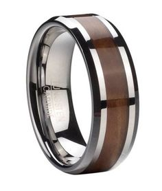 Amazon.com: Mens Tungsten 8mm Comfort Fit Ring with Exotic Koa Wood Eternity Style Inlay and Polished Beveled Edges: Jewelry