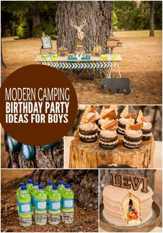 Boy's Modern Camping Birthday Party Ideas