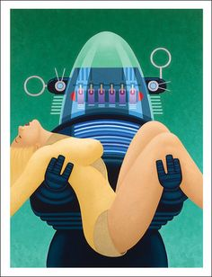 Robby the Robot on The Forbidden Planet rescues unconscious Altaira – Kim Kern Art Prints
