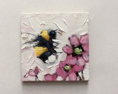 Reserved for Kinzie. Bumblebee painting, Tiny original impressionistic oil painting of a whimsical Bumblebee, on panel. Bee Painting, Painting & Drawing, Painting Lessons, Painting Inspiration, Art Inspo, Mini Canvas Art, Mini Paintings, Indian Paintings, Bee Art
